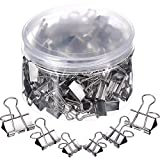 TecUnite 150 Pieces Silver Binder Clips Paper Clamp Clips Assorted Sizes