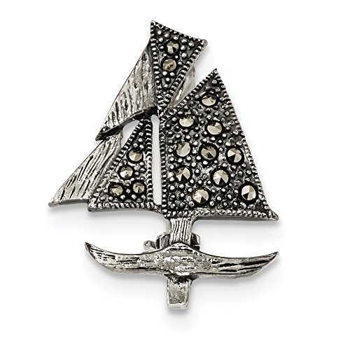925 Sterling Silver Marcasite Sailboat Pin Fine Jewelry Gifts For Women For Her ()