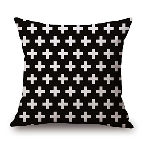 pillow case covers with zipper Pillow Case Black and White Pattern Pillowcase Cotton Linen Printed 18x18 Inches Geometry Euro pillow case standard size (A19)