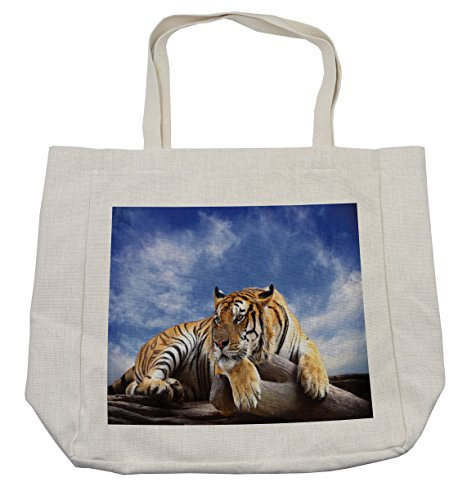 Ambesonne Safari Shopping Bag, Tiger Sitting on Wood Clear Blue Sky Wildlife Morning Stripes Predator Print, Eco-Friendly Reusable Bag for Groceries Beach Travel School & More, (Tiger Woods Costume Ideas)
