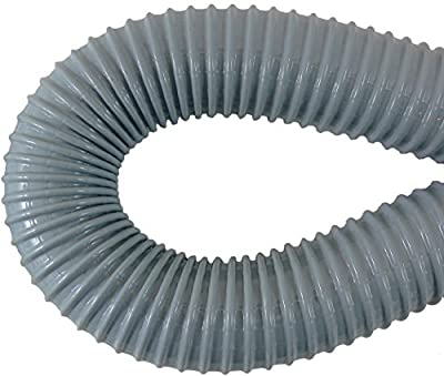 "FLEX TUBE: 24"" (2 foot) Flexible Tube/Hose/Pipe (for 2"" vacuum pipe) for Central Vacuum System dust pan installation (and more), Gray, Vinyl over steel wire interwoven with Nylon Cord"