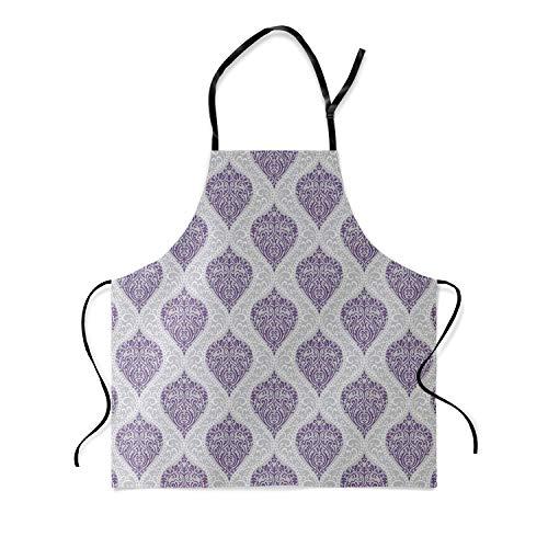Apron European Style Purple Damask Wallpaper Decorative Pattern Kitchen Bib Apron Ideal for Cooking Dishwashing Cleaning Painting 19X23Inch