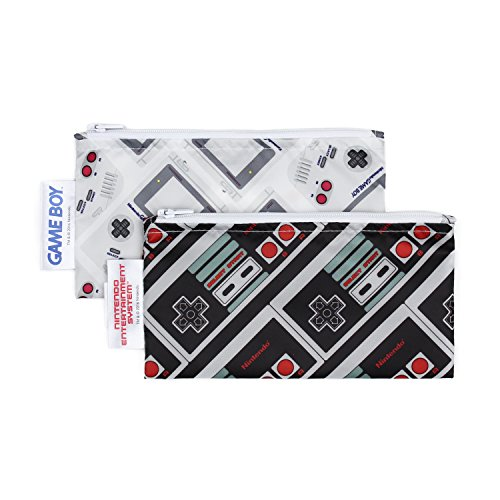 Bumkins Nintendo Reusable Snack Bag Small 2 Pack, NES Controller/Game Boy