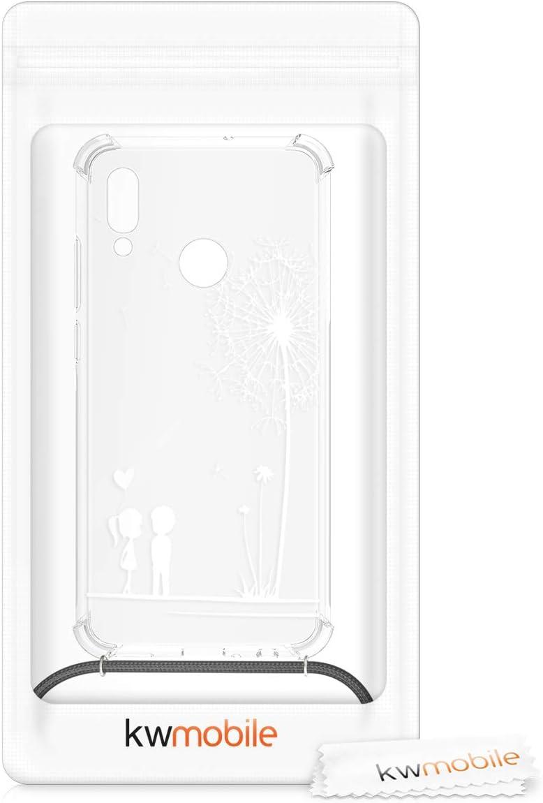 2019 kwmobile Funda con Cuerda Compatible con Huawei P Smart Carcasa de TPU con Colgante ni/ños y Diente le/ón Blanco//Transparente