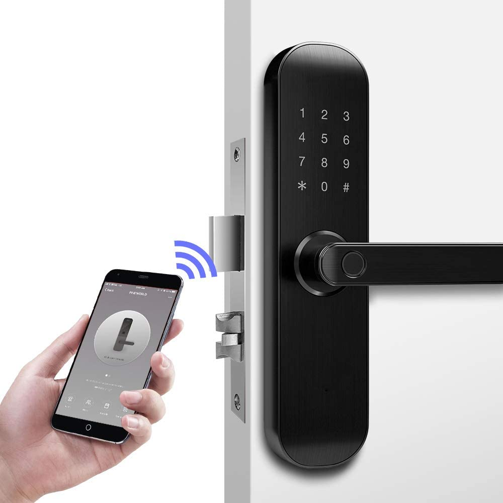 New 202Plus WiFi and Bluetooth Smart Lock, Fingerprint Keyless Entry Door Mortise Lock, App Remotely and Office/Apartment Business Manage for Door Lock, Handle Free Reversible