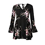 Kumike Fashion Women Boho Floral Long Evening Party Beach Mini Dress Sundress