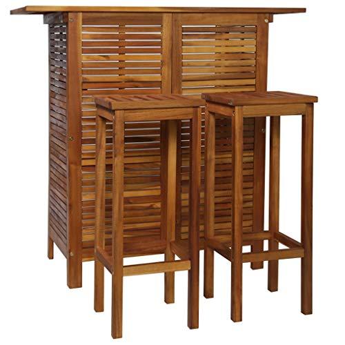 Goliraya Muebles de Jardin Exterior Conjuntos Conjunto Alta mesas y sillas Comedor Set Mesa de Bar y sillas 3 Piezas de Madera de Acacia Maciza