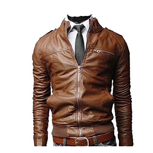 PU Stand Thicken 6 Men's Solid Comfort Coat RkBaoye Zip Collar Biker Up Motorcycle wqtvYg