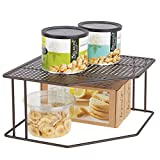 corner kitchen cabinet mDesign Rustic Decorative Metal Corner Shelf - 2 Tier Raised Storage Organizer for Kitchen Cabinet, Pantry, Shelf, Countertop - Holds Dishes, Baking Supplies, Canned Goods, Spices - Bronze