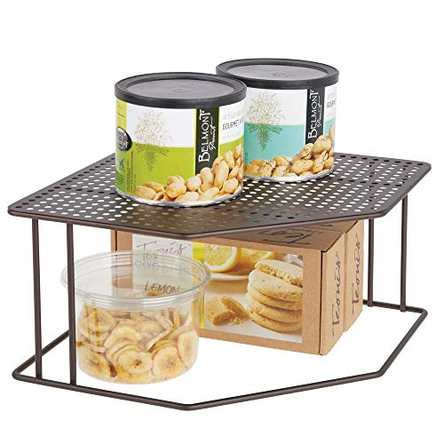 mDesign Rustic Decorative Metal Corner Shelf - 2 Tier Raised Storage Organizer for Kitchen Cabinet, Pantry, Shelf, Countertop - Holds Dishes, Baking Supplies, Canned Goods, Spices - Bronze