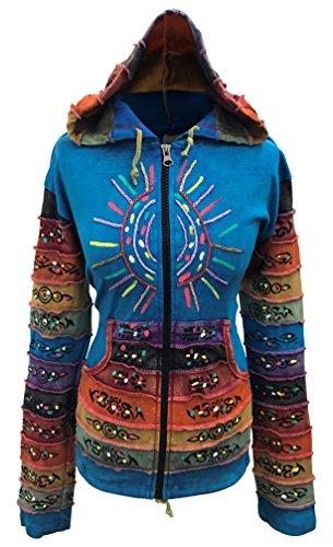 - Shopoholic Fashion Women's Peace Patchwork Pixie Hippy Ribs Hoodie Faded Jacket -TQ-L Blue