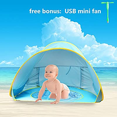 Kiddie Beach Pool Tent,Baby Pop up Beach Tent Umbrella Pool,Oummit Pop Up Tent,UV Protection Sun Shelters,Canopy Tent Baby Pool