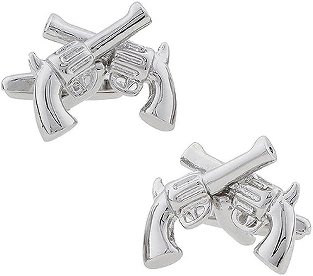 Williams and Clark Mens Executive Cufflinks Silver Tone Pistols as Dawn Gunslinger Crossed Guns Cuff Links