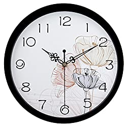 hito Silent Floral Wall Clock Non Ticking 10 inch Excellent Accurate Sweep Movement Glass Cover, Decorative for Kitchen, Living Room, Bathroom, Bedroom, Office (fl4 Black)