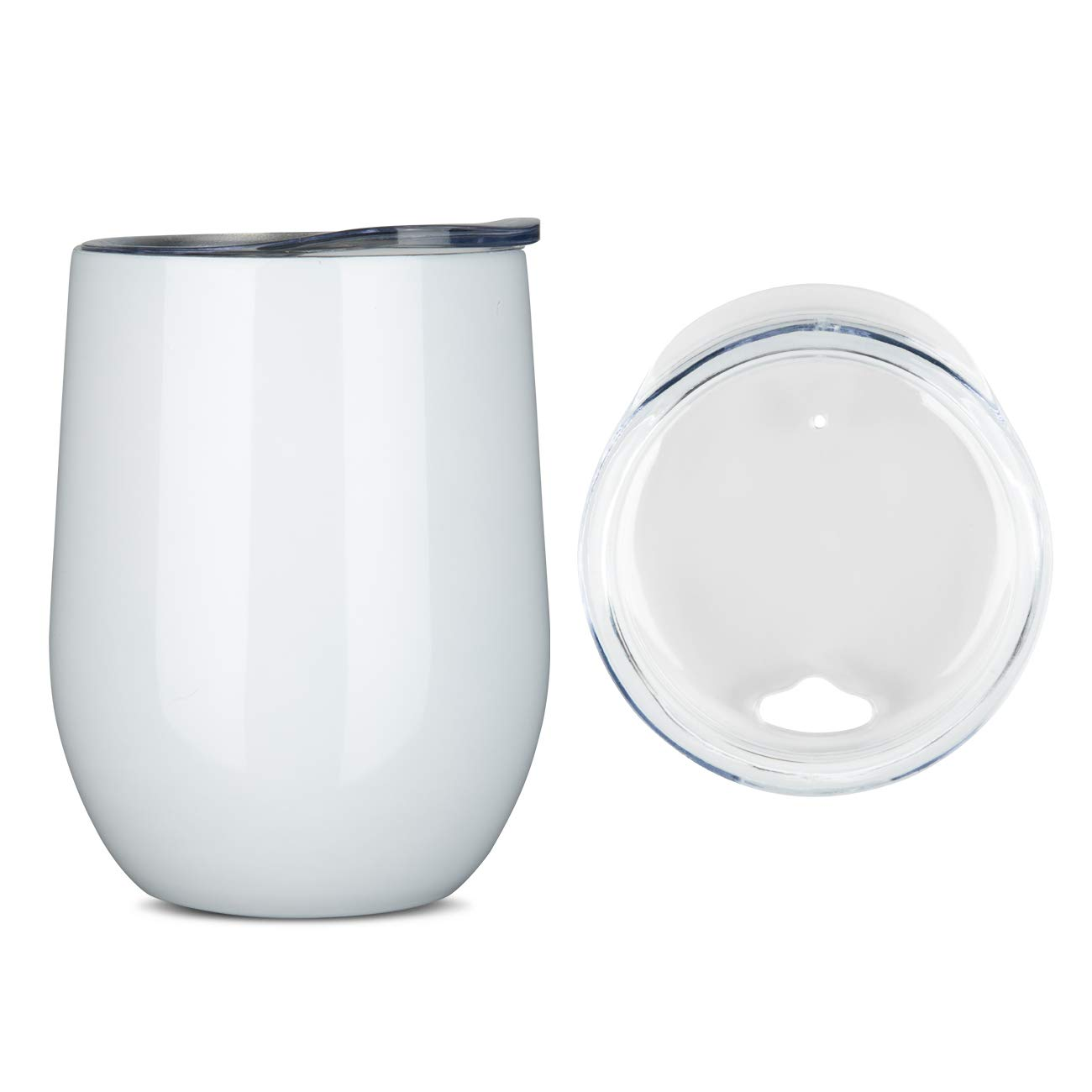 Stainless Steel Stemless Wine Glass Tumbler with Lid, 12 oz | Double Wall Vacuum Insulated Travel Tumbler Cup for Coffee, Wine, Cocktails, Ice Cream - Wall Vaccum Insulation Thermos cup (White) by ONEB (Image #3)