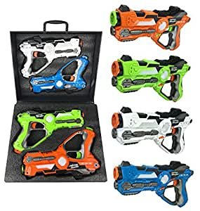 Multiplayer Extreme Infrared Laser Tag Game Set - Toy Gun Blasters w/ Carrying Case (Set of 4)