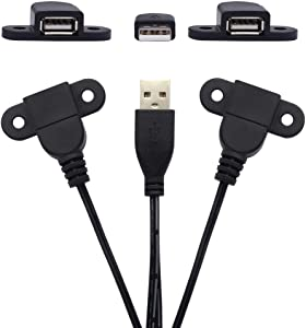 USB 2.0 Male to Dual Female Charging Extension Cable, Furniture nightstand USB Charging Port, Panel Mount Cable with Screw Hole Used for:Mobile Phones,Table Lamps,Portable Power and More 5 ft (1pc)