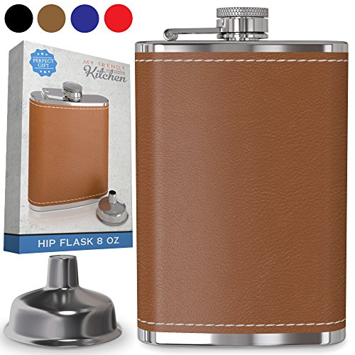 Hip Flask for Liquor 8 Oz with Funnel - Leak Proof Food Grade 18/8 Stainless Steel - Brown Leather Cover for Discrete Pocket Shot Drinking of Whiskey, Rum and Vodka | Ideal Gift for Men (Whiskey Flask Bottle)