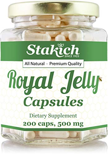 Stakich ROYAL JELLY Capsules (500 mg) - Organically Produced, Top Quality, 100% Pure (200 Count)