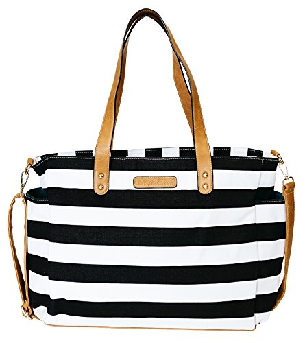 Black Stripe Tote Bag by White Elm -The Aquila- Zipper Closure and 7 Pockets - Cotton Canvas & Vegan Leather