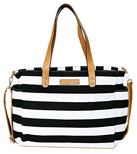 Black Stripe Tote Bag by White Elm -The Aquila- Zipper Closure and 7 Pockets - Cotton Canvas & Vegan Leather Black & White Bag