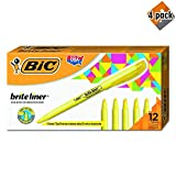BIC Brite Liner Highlighter, Chisel Tip, Yellow, 12-Count (4 Pack)