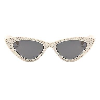 Deylaying Lunettes de soleil pour Femmes,Petit Classique Œil de chat Style Plastique Cadre Mode Lunettes de Soleil UV400 Extérieur-Etui & Chiffon