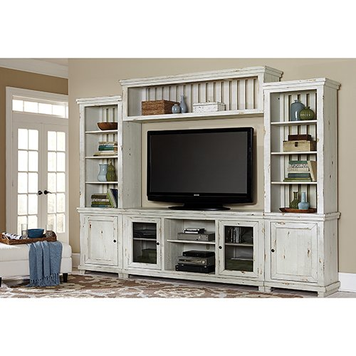 (Complete Entertainment Unit in Distressed White Finish)