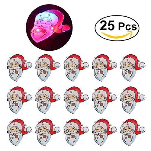 BESTOYARD LED Brooch Christmas Brooch Pin Santa Claus Badge Brooch for Children Gift Party Favors 25Pcs