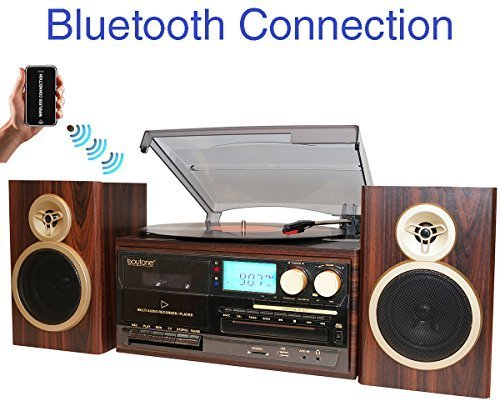 Boytone BT-28SPM, Bluetooth Classic Style Record Player Turntable with AM/FM Radio, CD / Cassette Player, 2 Separate Stereo Speakers, Record from Vinyl, Radio, and Cassette to MP3, SD slot, USB, - Classic Usb Turntable