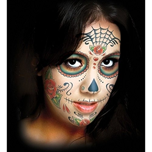 Skull Face Makeup (Tinsley Transfers  Sugar Skull, Flesh/Multi, One Size)