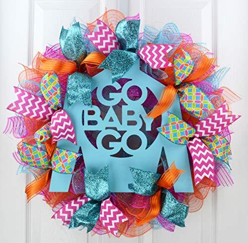 Kentucky Derby Bridal Shower | Jockey Silk Go Baby Go Door Wreath | Pink Turquoise Orange
