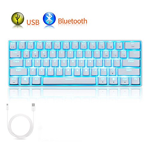 LexonElec Gaming Mechanical Keyboard RK61 Wired/Wireless Bluetooth 61 Keys Sky Blue LED Backlit USB Ergonomic Multimedia Waterproof Pro Gaming Keypad (Brown Switch, White)