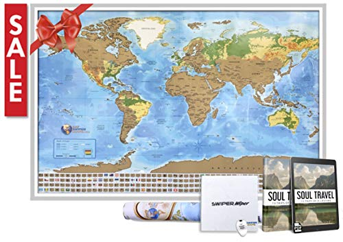 (Scratch off travel map of the world - Easy to scratch off world travel map tracker - 33 x 24 Poster)
