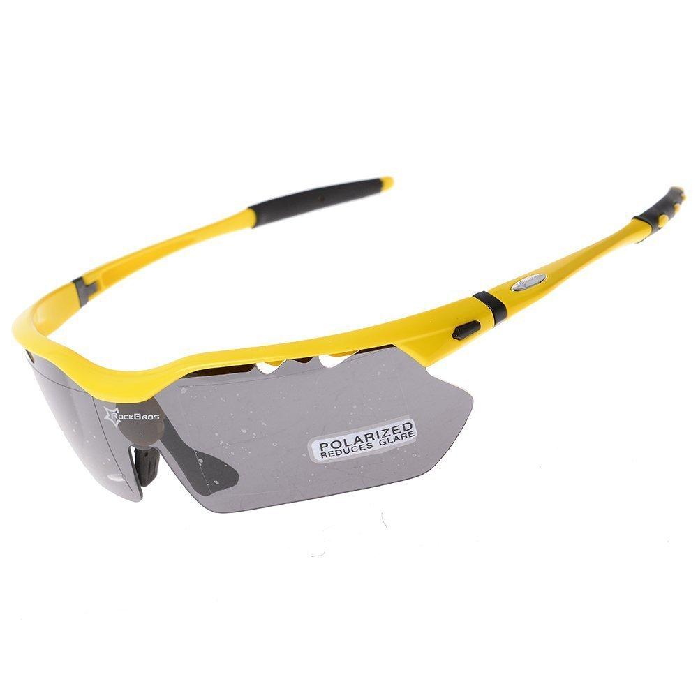 Hysenm aggiornato Bretahble ergonomico, 100% protezione UV Outdoor-Occhiali da sole sportivi, per ciclismo, con 5 lenti Fishing Climbing Rockbros