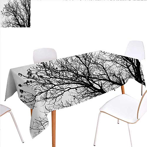 Deluxe Oak Roll Top - familytaste Nature Washable Tablecloth Leafless Autumn Fall Tree Branches Tops Oak Forest Woodland Season Eco Theme Waterproof Tablecloths 60
