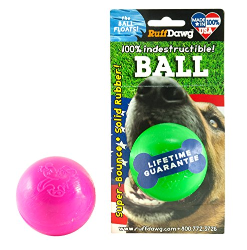 (Ruff Dawg Ball Solid Rubber Dog Toy Small Assorted Neon Colors)