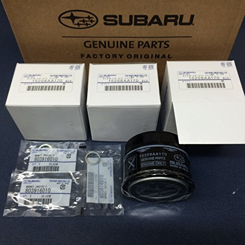 (Subaru Engine Oil Filter & Crush Gasket (3 Pack) 2015-2018 WRX 2.0 15208AA170 OEM)