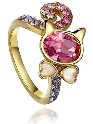 FAPPAC Cat Statement Ring Enriched with Swarovski Crystals - 18k Yellow Gold Plated - 6