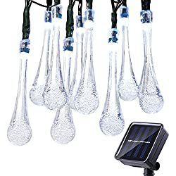 Icicle Solar String Lights, 24.6ft Solar Outdoor Lights with 40 Waterproof LED, 8 Modes Waterdrop Decoration Lights for Garden, Patio, Lawn, Gazebo, Fence, Wedding, Holiday, Party (White)