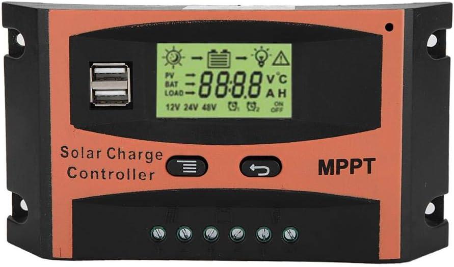 Akozon MPPT Controlador de carga Placa de circuito PCB 12 V / 24 V Panel solar Regulador Pantalla LCD Controlador automático de batería (30A)