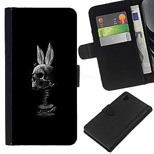A-type (Cráneo Conejo Negro divertido Blanca) Colorida Impresión Funda Cuero Monedero Caja Bolsa Cubierta Caja Piel Card Slots Para Sony Xperia Z1 L39