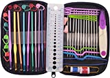 GYBest 49 Pieces Crochet Hooks Yarn Knitting Needles Sewing Tools Full Set Knit Gauge Scissors Stitch Holders with Purple Case