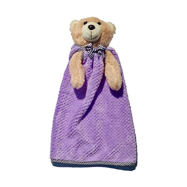 Stuffed Animal Baby Blanket Snuggler Lovey with Removable Washable Ultra Soft Blankie – 14″ (Purple)