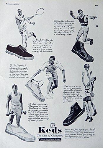 1935 Fashions, Print Ad. B&W Illustration (Keds, the shoes of champions) original Vintage 1935 Rare Esquire Magazine Art