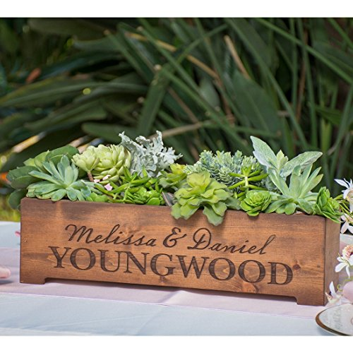 Personalized Rustic Wood Planter Box Wedding Centerpiece Vase - First Names and Last Name Engraved