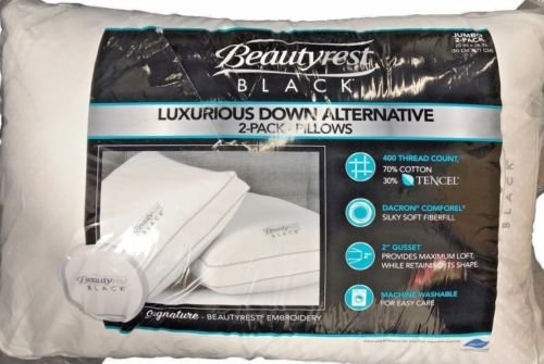 BeautyRest Black Luxurious Down Alternative Pillows 400 Thread Jumbo - 2 Pack by BeautyRest