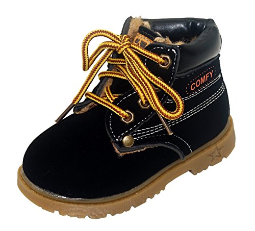 Happy Cherry Infant Retro Winter Lace Up Boots Ladies Martin Ankle Boot Work Hiking Trail Biker Shoes Size 21 Black by Happy Cherry (Image #1)