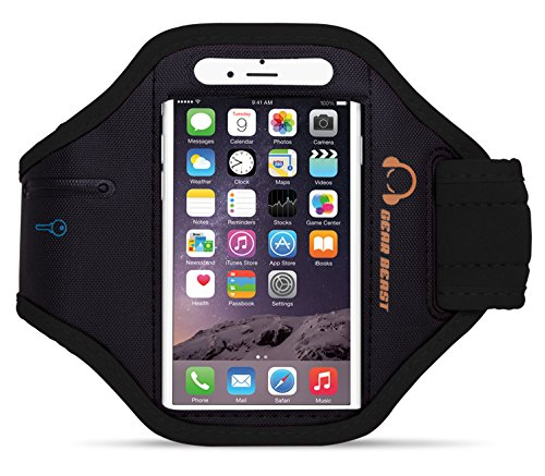 Gear Beast Premium NylonNeoprene Sports Armband for Apple iPhone 6 Plus (5.5 Inch) & Samsung Galaxy Note 4  3 2  Note Edge & Galaxy S5 Active & More (Black)