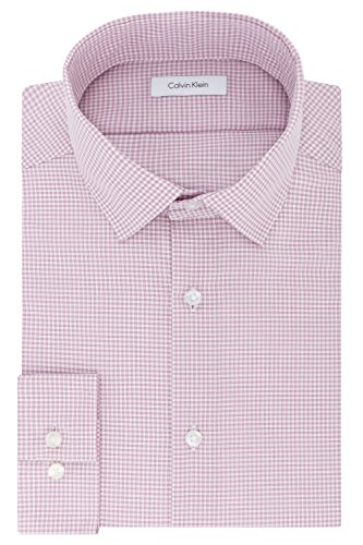 Calvin Klein Men's Dress Shirts Non Iron Slim Fit Gingham Spread Collar, Rose Quartz, 16